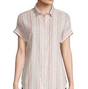 Striped Linen Blend Dolman-Sleeved Shirt Sz XL